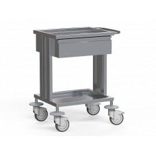 Стол медицинский для инструментов, из нержавеющей стали, с 2 полками и 1-м выдвижным ящиком , на колесах, БТ-СТН1-110
