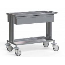 Стол медицинский для инструментов, из нержавеющей стали, с 2 полками и 2-мя выдвижными ящиками , на колесах, БТ-СТН2-112