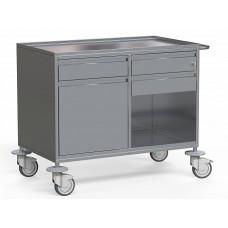 Стол медицинский для анестезиолога, из нержавеющей стали, с 3-мя выдвижными ящиками, распашной дверкой и нишей, один ящик с замком, на колесах, БТ-СТНА-105