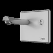 Настенный смеситель с пьезо кнопкой, плечо вытекания 250 мм, 6 В SLU 04P25B  SANELA