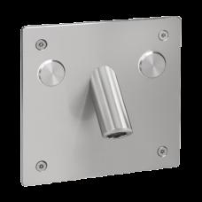 Настенный смеситель для подачи холодной и теплой воды (2 пьезо кнопки) с антивандалной крышкой, 24 В SLU 44PP SANELA