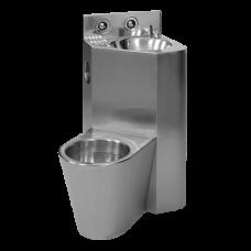 Антивандальный угловой комплект унитаза с умывальником, напольный унитаз налево SLWN 08L